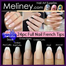 24pc Full Nail Long French Tips Cover Press On Natural Finger False Fake Wedding