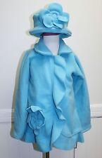 American Widgeon Girls Flower Ruffle Jacket Hat Fleece Blue NEW