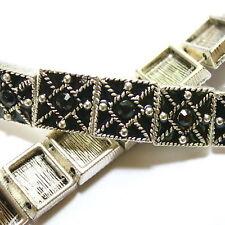 Metal Square Bracelet Slider 10mm Bead Swarovski Crystals Jet 2 Hole 12 Pcs SB10