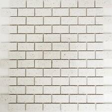 Mosaik Fliese Quarz Komposit Kunststein Brick Artifical weiß Küchenwand 46-0104