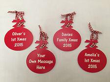 Personalised Engraved Christmas Tree Bauble Baby's 1st Xmas Family Keepsake