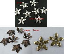200pcs Silver/Copper/Bronze Color 5-leaves Bead Caps 16mm S17-S19
