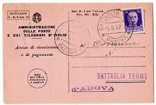 1942 REGNO AVVISO DI RICEVIMENTO MOD 23-I 50 CENTESIMI BATTAGLIA T. 5/5 B/9384