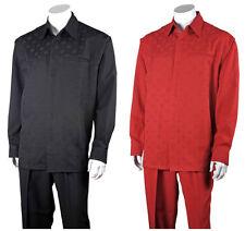 Men's 2pc Walking Suit Long Sleeve Checks Shirt w/ Solid Pants Set #2762