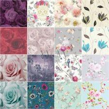 Carta da parati floreale Glitter METALLICO - fiori rose foglie fiori fiori