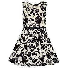 Girls Skater Dress Kids Black Roses Print Summer Party Fashion Dresses 7-13 Year
