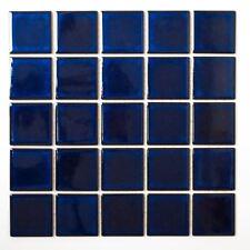 Mosaik Fliese Keramik kobaltblau glänzend Schwimmbad  | 14-0405_f | 10 Matten