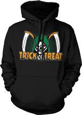 Grim Reaper Trick Or Treat Sickles Skull Scary Horror Creepy Hoodie Pullover