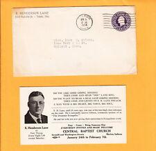 E H Lane Drummer Evangelist Old Gospel Toledo 1934 Cover Signed Letter y2