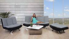 Lounge-Set/2er Sofa/Sessel/Ottomane Lissabon, Schlaffunktion Textil grau-schwarz