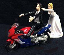 Wedding Cake Topper w/ HONDA Motorcycle Bike Track Groom top Anniversary Shower