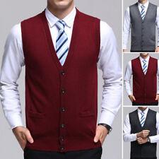 Men Sweater Knitted Cardigan Vest Warm V Neck Sleeveless Button Tops Knitwear