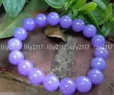 Natural 6/8/10/12mm Lavender Jade Gemstone Round Beads Stretchy Bracelet 7.5''
