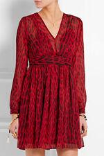 NWT $160  MICHAEL KORS Leopard Print Georgette Dress, Red Blaze, Size  4  10  14