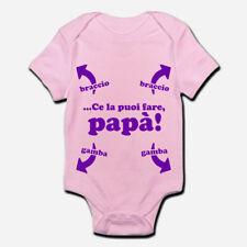 Body pagliaccetto neonato rosa bimba bebè Ce la puoi fare papà, divertente!