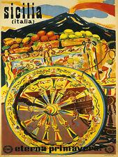 Sicilia Sicily Spring Fruits Volcano Italy Tourism Vintage Poster Repo FREE S/H