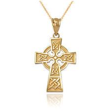 1.5INx0.8IN 14k Yellow Gold Celtic Claddagh Cross Pendant.