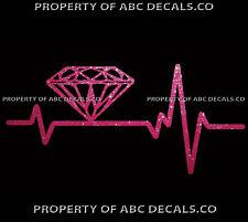 VRS Heart Beat Line DIAMOND Diamante Jewelry Love Jewels Gems CAR METAL DECAL