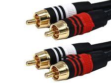 50ft Premium 2 RCA Plug/2 RCA Plug M/M 22AWG Cable - Black