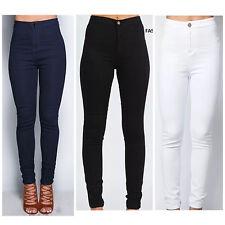 Señoras Mujeres de la alta cintura Flaca Delgada Negra de Jean tipo Jeggings Pantalones 6 8 10 12 14 16