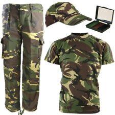Garçons Armée Costume Kids pantalon t-shirt Cap Visage Peinture Fantaisie Robe DPM Camo
