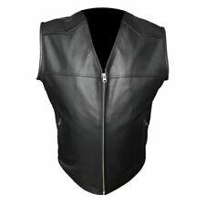 Homme Vrai Cuir Vachette Black Motorcycle Style Motard Gilet sans Manche -b17