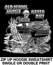 OLD SCHOOL MUSCLE HOT ROD OUTLAW RACE BLOWER CAR SKULL ZIP HOODIE SWEATSHIRT O1