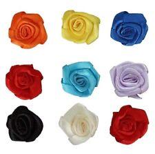 25x Small Mini Satin Ribbon Flowers Rose Wedding Decor Sewing Appliques DIY