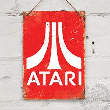 Signo de pared de metal Atari Réplica Antigua Retro Pub Bar Mancave Gamer píxel RPO 8bit
