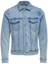 ONLY & SONS Mens New Fashion Stretch Jean Denim Trucker Jacket Light Bleach Blue