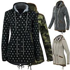 Damen Übergangsjacke Herbst Winter Fleece Sweatjacke Kapuzen Jacke Mantel  BC-01