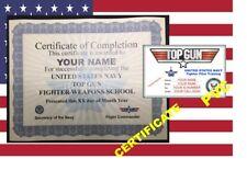 USA ID COLLECTOR CARDS <<TOP GUN >> CERTIFICATE
