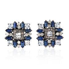 Blue Sapphire 925 Sterling Silver Diamond Men'S Cufflinks Fashion Jewelry