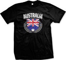 Australian Flag Shield Olive Branches Aussie Pride Mens T-shirt