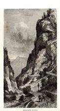 Stampa antica CISMON del GRAPPA Fortificazione del COVOLO Vicenza 1876 Old Print