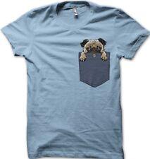 PUG in my Pocket dog funny cute light blue sky printed t-shirt FN9410