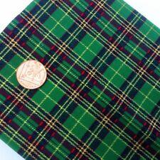 Christmas Festive TARTAN Fabric Metre Fat Quarters Green Gold 100% Cotton X56