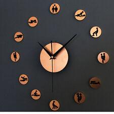 Creative Metallic Sex Gestures Wall Clock Bedroom Decor Silent Watches GHJ