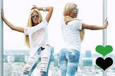 Damentop Longshirt T-Shirt Damenshirt Vokuhila Top Oberteil Tunika Grün Weiß