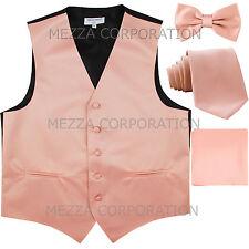 New Men's tuxedo Vest Waistcoat With Necktie, Bowtie & Hankie Set Mauve Pink