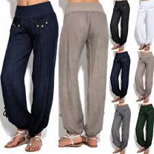 Womens Casual Linen Harem Pants Loose Baggy Wide Leg Yoga Oversize Long Trousers