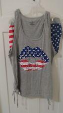 NEW Women's Sleepwear Pajamas Size (2X, 3X) Patriotic Lips RED WHITE BLUE T17