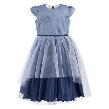 AL-DA Mädchen Kleid Festlich Party Einschulung Hochzeit Blumenmädchen Tüll Blau