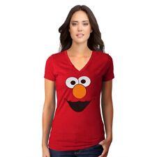 Sesame Street Elmo Face V-Neck Junior Women's T-Shirt