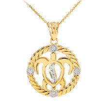 Gold Rope Open Circle 5 Diamonds Lucky Hawaiian Honu Sea Turtle Pendant Necklace