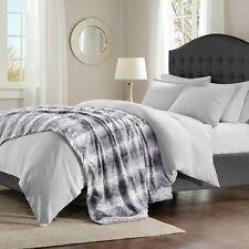 "Super Soft Grey Chinchilla Faux Fur Oversize Throw Blanket 96""x80"