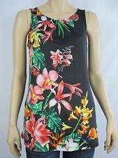 Crossroads Ladies Sleeveless Pleat Neck Top size 8 Colour Black Floral Print