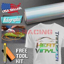 "Holographic Rainbow Silver Heat Transfer Vinyl HTV TShirt 20"" Iron On Heat Press"