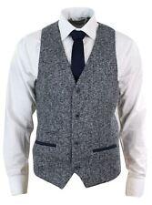 Veste ou gilet homme tweed gris bleu coupe cintrée tissu épais chic décontracté