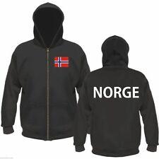 NORGE Kapuzenjacke / Sweatjacke - M bis XXL - schwarz/weiss - Flagge - NORWEGEN